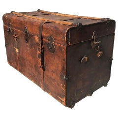 Elegantly Distressed Antique Steamer Travel Trunk Leather Wood and Iron, 1890s