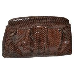 Elegantly Warm Coco-Brown Snakeskin Clutch