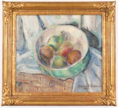 American Post Impressionist Oil 'Still Life of Pears' in Richard Tobey Frame