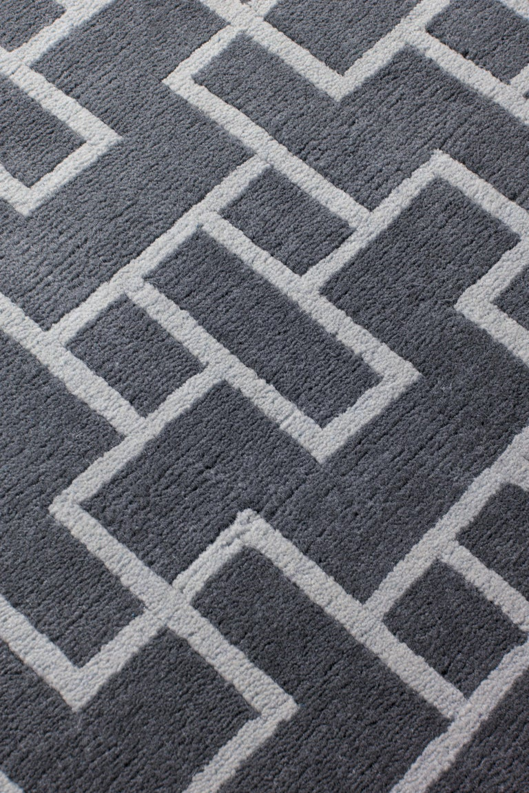 Modern Element Hand-Knotted 10x8 Rug in Wool by The Rug Company For Sale
