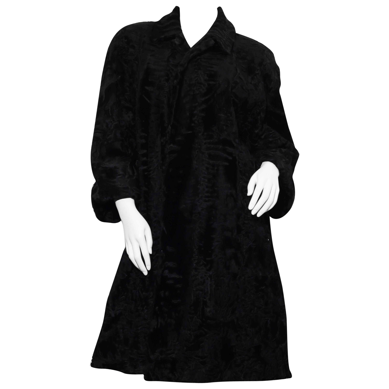 Elena Benarroch Black Persian Lamb Astrakhan three quarters Fur Coat