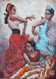 Girls. Flamenco, Painting, Oil on Canvas