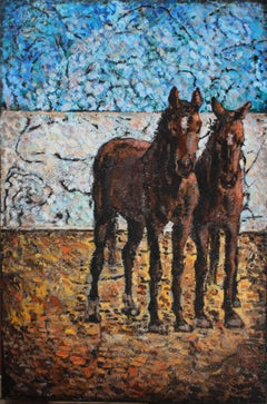 Horses in Villacana, Painting, Oil on Canvas