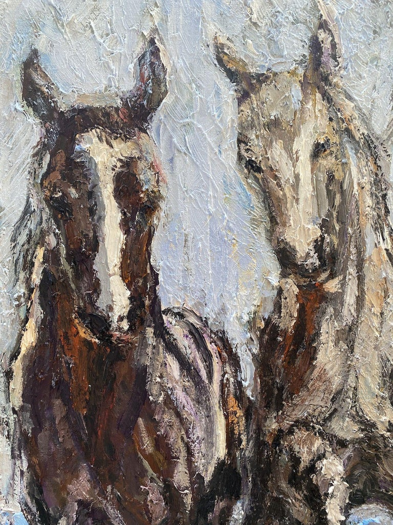 Horses on the beach, Painting, Oil on Canvas For Sale 1