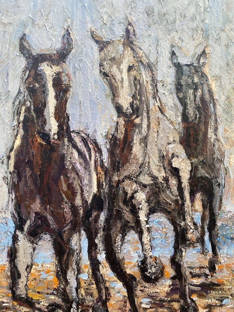 Horses on the beach, Painting, Oil on Canvas For Sale 2