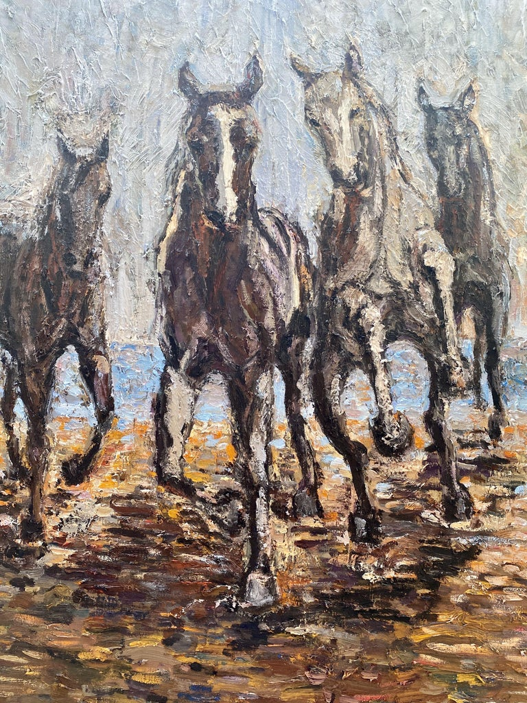 Horses on the beach, Painting, Oil on Canvas For Sale 4