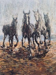 Horses on the beach, Painting, Oil on Canvas