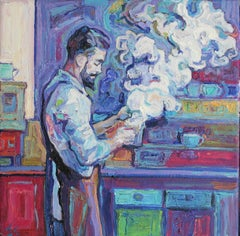 Barista  - Oil Painting Yellow Blue White Purple Green Brown Grey
