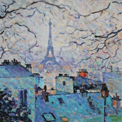 Paris  - Landscape Painting Oil Yellow Blue White Purple Green Brown Grey