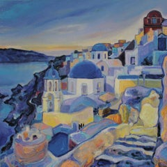 Santorini  - Landscape Painting Oil Yellow Blue White Purple Green Brown