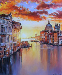 Venice, Grand Canal - Landscape Painting Yellow Blue White Green Brown Grey