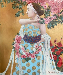 Apple Blossom-girl in the garden, made in gold, pink, rose, light blue color
