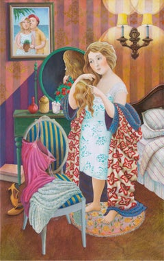 In the Bedroom (A girl with a comb) - naive art, made in red, blue, green colors