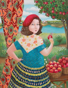 The Girl in Red Beret with apples - naive art, made in red, green, blue colors