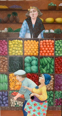 The Market (fruits, vegetables)-naive art, made in yellow, green, red, brown