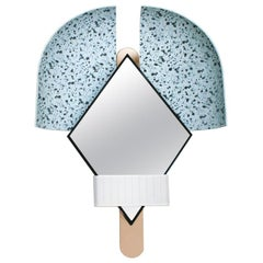 "Stunning Elena Salmistraro Contemporary Italian Light Blue ""Bonnet"" Mirror"