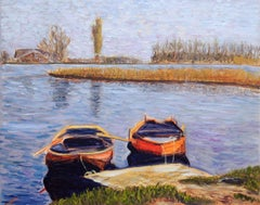 Waiting boats, Painting, Oil on Canvas