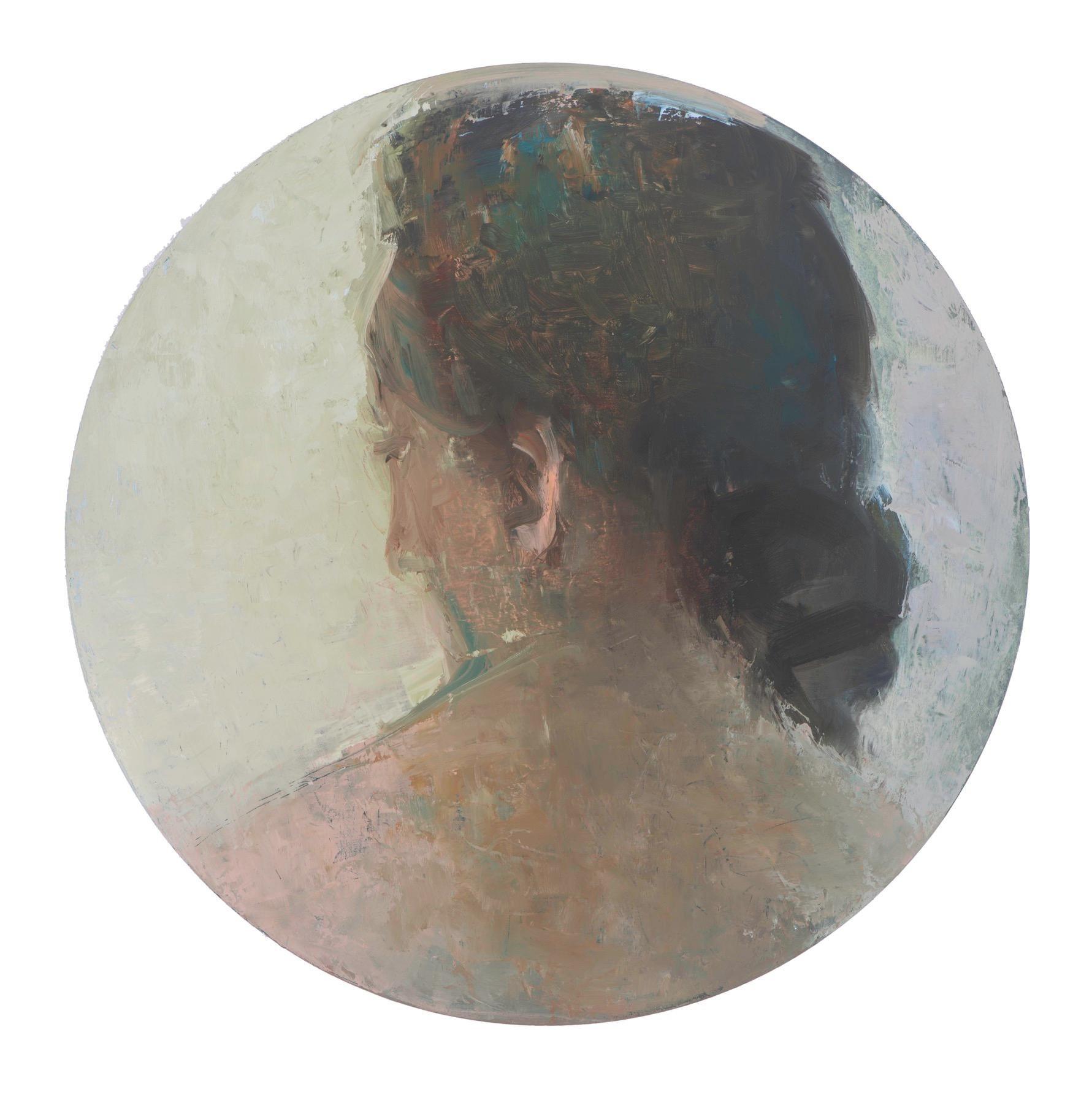 Apart - circular contemporary portrait oil on panel