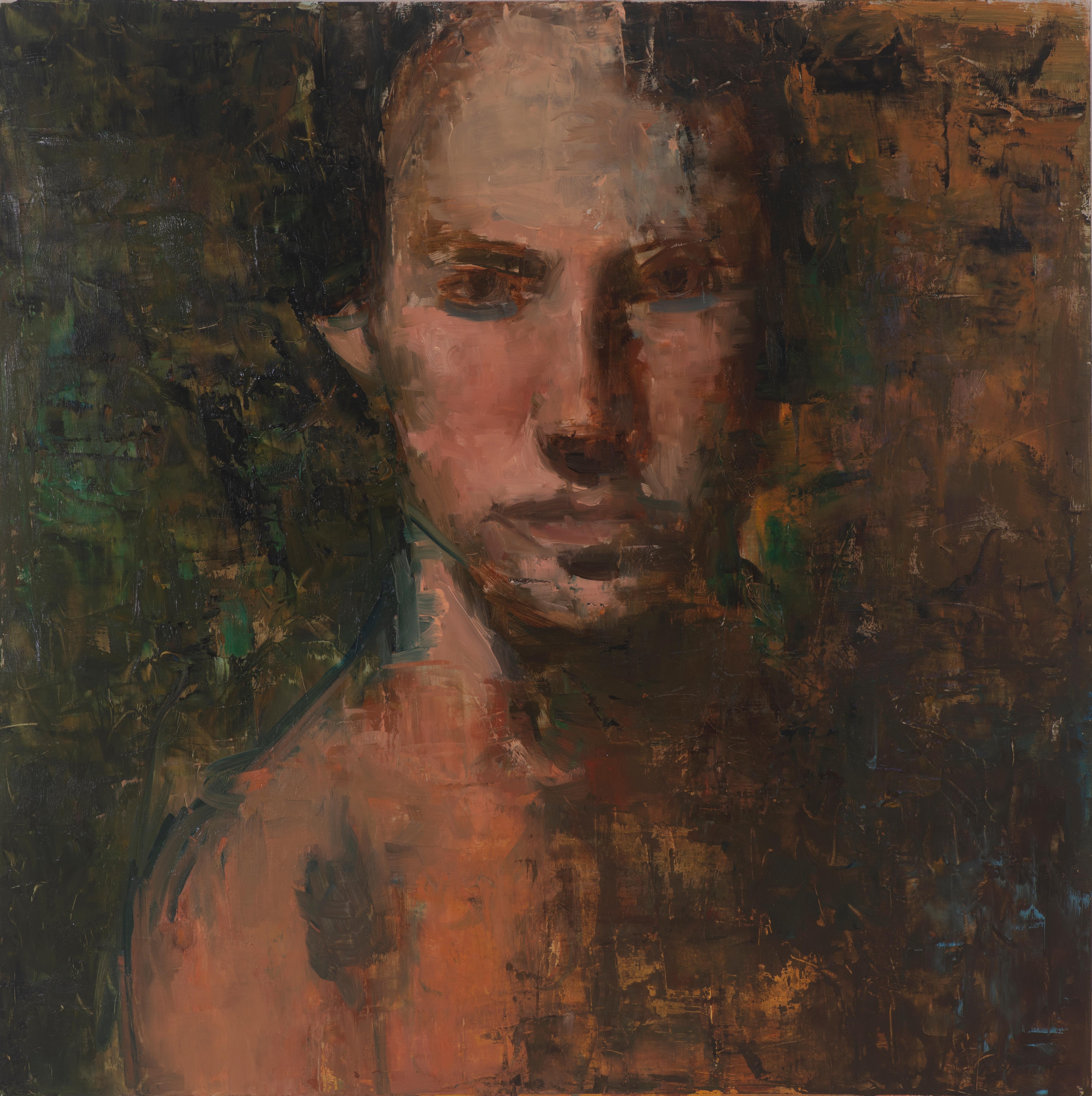 I AM/ androgynous head mixed media oil painting