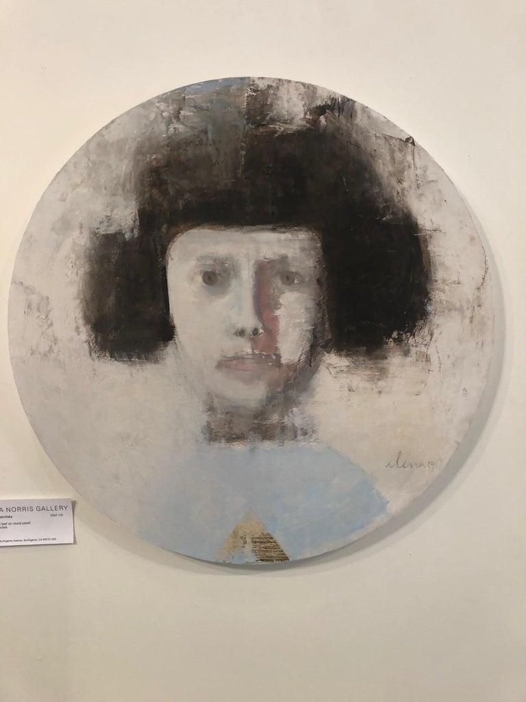 SAFFO - circular contemporary portrait oil on canvas  - Painting by Elena Zolotnitsky