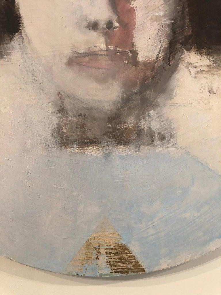 SAFFO - circular contemporary portrait oil on canvas  - Contemporary Painting by Elena Zolotnitsky