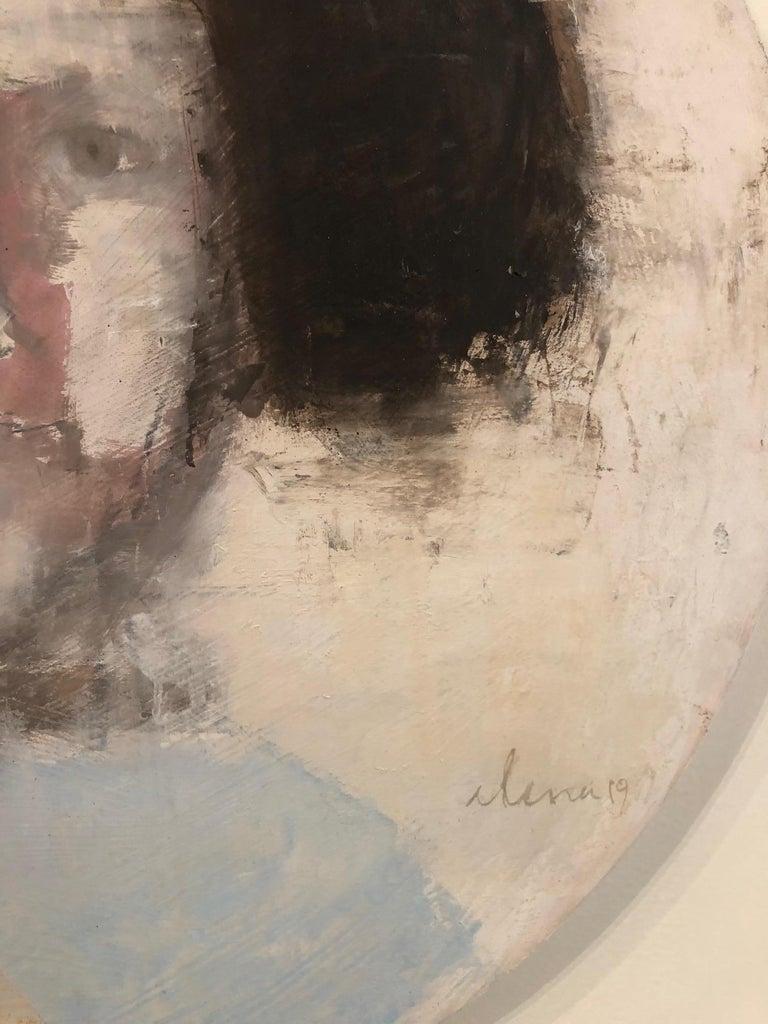 SAFFO - circular contemporary portrait oil on canvas  - Gray Portrait Painting by Elena Zolotnitsky