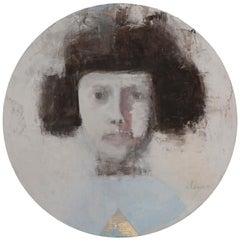 SAFFO - circular contemporary portrait oil on canvas