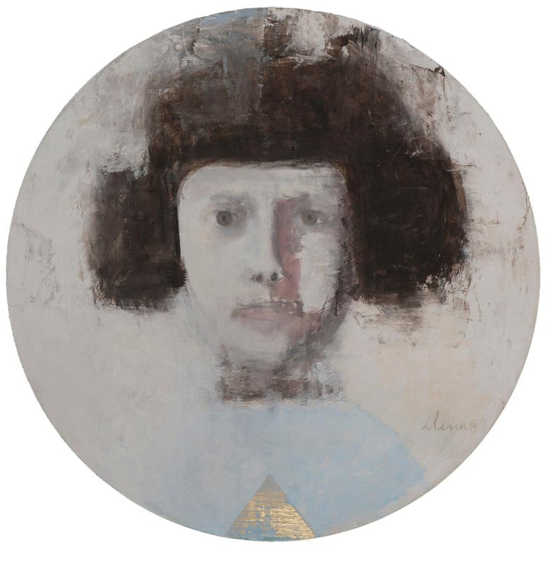 Elena Zolotnitsky Portrait Painting - SAFFO - circular contemporary portrait oil on canvas