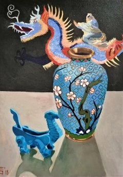 Chinese Dragon Figurative Painting Oil Canvas Colors Blue Black Red Pink