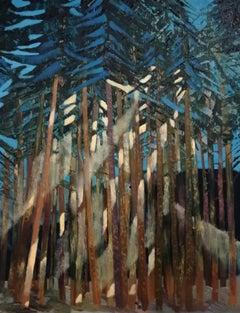 Pine Wood Landscape Painting Canvas Oil Paint Colors Blue White Yellow Night