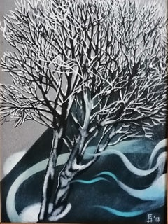 Winter Tree Landscape Paintings Colors Blue White Oil Canvas