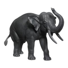 Elephant Animal Figure in Black Biscuit Porcelain by Nymphenburg