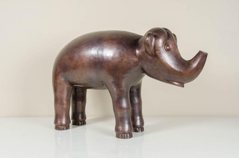 Elephant, Antique Copper by Robert Kuo, Hand Repoussé, Limited Edition In New Condition For Sale In West Hollywood, CA