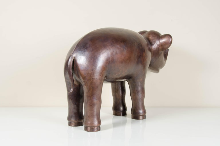 Elephant, Antique Copper by Robert Kuo, Hand Repoussé, Limited Edition For Sale 1