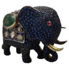 Elephant Brooch with Sapphire