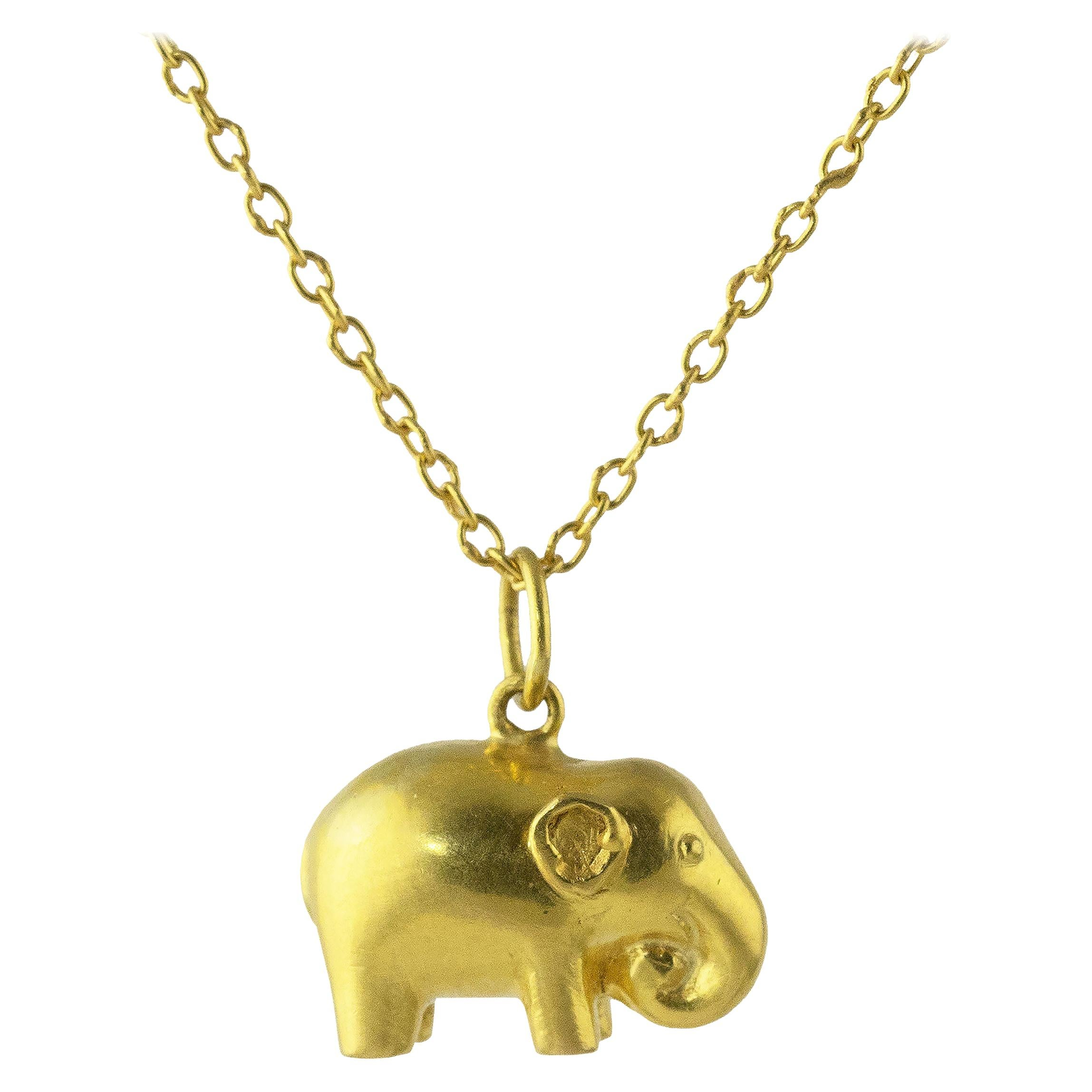 Ico & the Bird & Turquoise Mountain Myanmar Elephant Zodiac 18k Gold Pendant