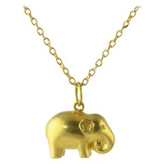 Ico & the Bird & Turquoise Mountain Myanmar 18k Gold Elephant Zodiac Pendant