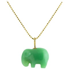 Ico & the Bird w/ Turquoise Mountain Myanmar Elephant Chrysoprase Charm 22k Gold