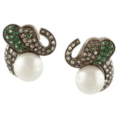 Elephant Earrings, Pearls, Diamonds, Emeralds, 18 Karat Yellow Gold and Silver