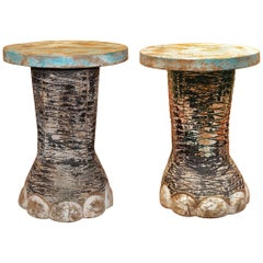 Elephant Foot Set of Two Side Table in Solid Wood