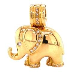 Elephant Pendant in 18 Karat Yellow Gold with Diamonds