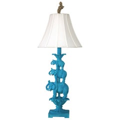 Elephant Stacked Artisan Cast Table Lamp