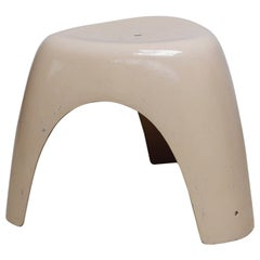 Elephant Stool with White Color by Sori Yanagi for Kotobuki