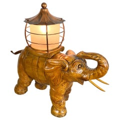 Elephant Table Lamp Hand Carved Wood and Copper Aldo Tura for Macabo Italy 1950s