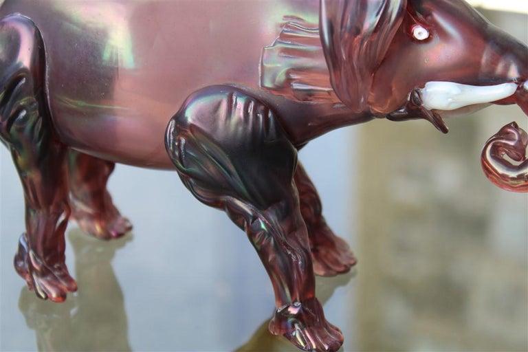 Art Nouveau Elephant the 1930s in Murano Glass Italy Purple Design Iridescent MVM Cappelin For Sale