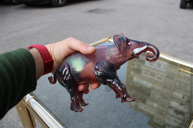 Elephant the 1930s in Murano Glass Italy Purple Design Iridescent MVM Cappelin For Sale 1