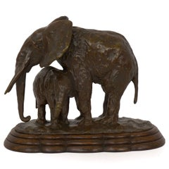 """""""Elephant with its Young"""" French Modernism Bronze Sculpture by Ary Bitter"""