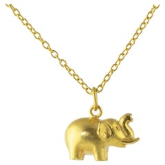 Ico & the Bird & Turquoise Mountain Myanmar Elephant 22k Gold Pendant
