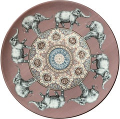 Elephants Porcelain Plate by Vito Nesta for Les-Ottomans