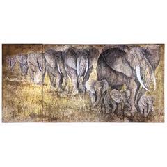 Elephants Quadriptyque Painting